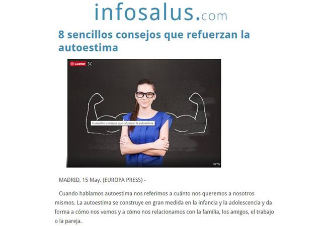 portada de revista digital infosalus que habla sobre la autoestima y 8 consejos para reforzarla